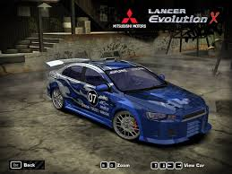 mitsubishi evolution 10 need for speed most wanted mitsubishi lancer evolution x nfscars