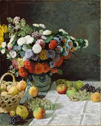 flowers and fruit still with flowers and fruit painting by claude monet