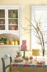 yellow green birthday party country dining room