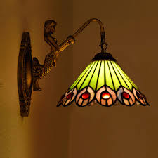 Tiffany Style Wall Sconces Decorative Sunflower Pattern Stained Glass Wall Sconces For Bedroom