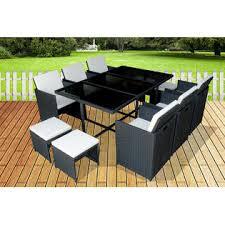 mcombo 11 pcs luxury black wicker patio indoor outdoor dinner