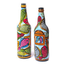 buy colourful handpainted patachitra fish bottle set of 2