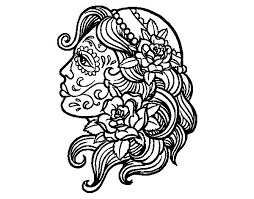 catrina tattoo coloring coloringcrew