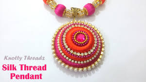 necklace pendant making images How to make a silk thread pendant at home tutorial jpg