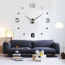 home decor wall clocks large diy 3d wall clock home decor mirror sticker art alex nld