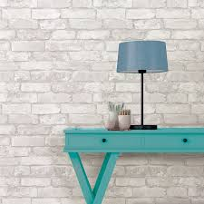 wallpops grey and white brick peel and stick wallpaper for the