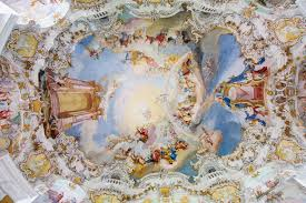 pilgrimage church of wies steingaden germany the ceiling of the