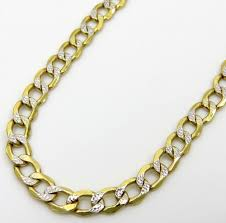 diamonds gold necklace images 10k yellow gold hollow diamond cut cuban link chain 24 inch 3 3mm jpg
