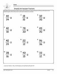 simplify the fraction worksheets 6th grade math