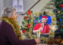 lonely senior women online companion wishes a merry christmas to aging woman stock