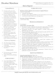 Examples Of Free Resumes by Optical Engineer Resume Example Sample Engineer Resumes