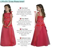 measure guide chart for flower dress junior bridesmaid