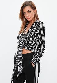 tie front blouse black stripe sleeve tie front blouse missguided australia