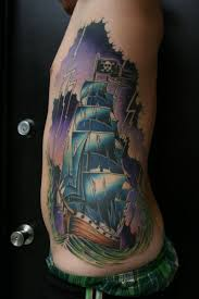 cool asian cartoon style multicolored old pirate ship in sea