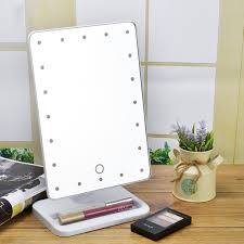 Makeup Mirrors Lighted Portable Makeup Mirror 20 Led Lighted Touch Screen Beauty Vanity