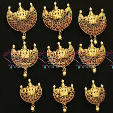 traditional hair accessories h3076 laxmi nagas temple jewellery antique gold plated hair