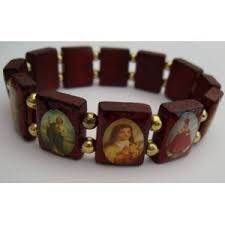 saints bracelet rosarybeads wood saints icon catholic bracelet st