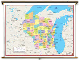 Maps Of Wisconsin by Wisconsin State Political Classroom Map From Academia Maps