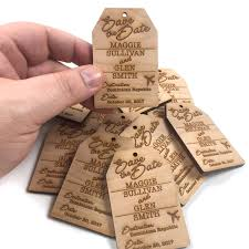 save the date luggage tags custom save the date luggage tag destination wedding wood fridge