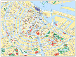 Amsterdam Metro Map by Large Road Map Of Central Part Of Amsterdam City With Street Names