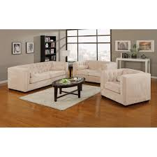 Chesterfield Sofa Set Pieces Almond Transitional Chesterfield Sofa Set