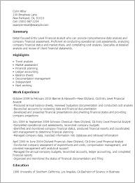 collection of solutions sample resume for financial analyst entry