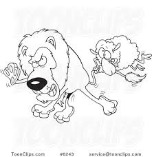 cartoon black and white line drawing of a sheep attacking a lion