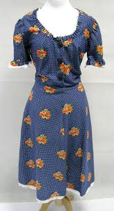 blue spotted bright floral patch day dress 1950s dresses