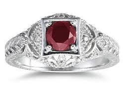 ruby rings sale images Ruby and diamond victorian ring in 14k white gold jpg