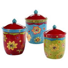canister set of four urban fusion colorful pottery kitchen home