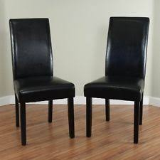 Leather High Back Armchair Set Of 2 Black Dining Chairs Faux Leather Room Wood Modern Side