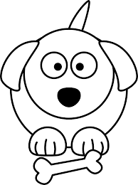 cartoon dog black white line animal coloring sheet colouring page