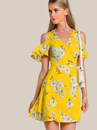 vestido cruzado con hombros abiertos flutter sleeve wrap