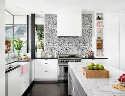 black white coated wallpaper as backsplash solid and marble