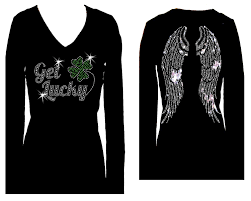 halloween angel wings get lucky angel wings st patricks day v neck long sleeve womens