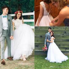 discount 2017 wedding dress country lace beads jewel delicate