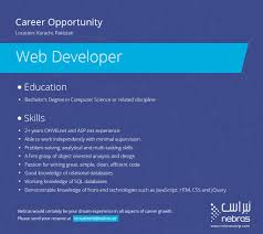 sample resume for c net developer nebras enterprise business solution linkedin nebras is looking for talented candidates who can join us as web developer the position is available in the karachi development centre