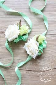 White Rose Wrist Corsage Ivory White Rose Wrist Corsage Blue Ribbon Wrist Corsage Silk