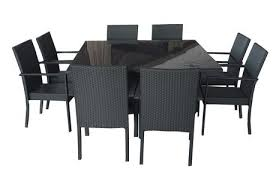 Dining Patio Set Henryka 9 Dining Patio Set With Cushions Black Walmart