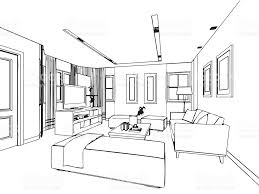Blue Print Of House Outline Sketch Drawing Interior Perspective Of House Stock Vector