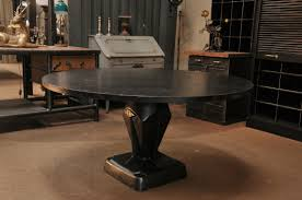 French Industrial Desk French Industrial Round Steel Dining Table With Sacem Pedestal