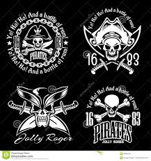 pirates emblem set with pirate spirit flying dutch pirate bay