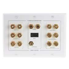 wall plate home theater shop new wall plate with banana plugs 7 pair subwoofer 1 port