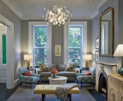 charcoal gray couch living room transitional with modern pendant
