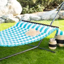 island bay 13 ft thick stripe pillow top hammock with steel stand