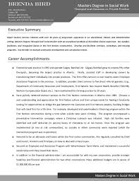 Sample Executive Summary Resume by Masters Degree Social Worker And Therapist Resume Sample