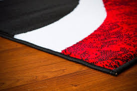 Black And Red Area Rugs by 0327 Red Black Swirl White Area Rug Carpet 5x7 Modern Abstract