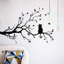 aliexpress com buy cat on a branch tree birds wall sticker vinyl aliexpress com buy cat on a branch tree birds wall sticker vinyl art decal window decal stencil for kids room decor adesivo de parede s m l from reliable
