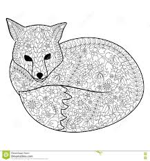 fox coloring book for adults vector stock vector image 73057314