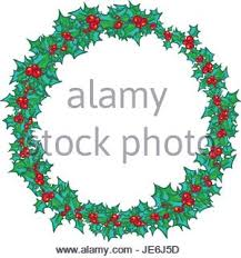 vector round christmas frame with hand drawn natural winter